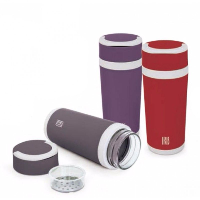 THERMOS GLASS BOTTLE  RED 450ML