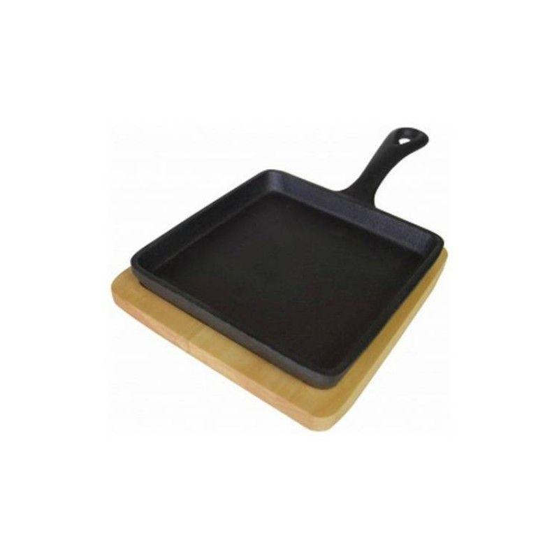 Square cast iron dish 14CM w/ wood M7122