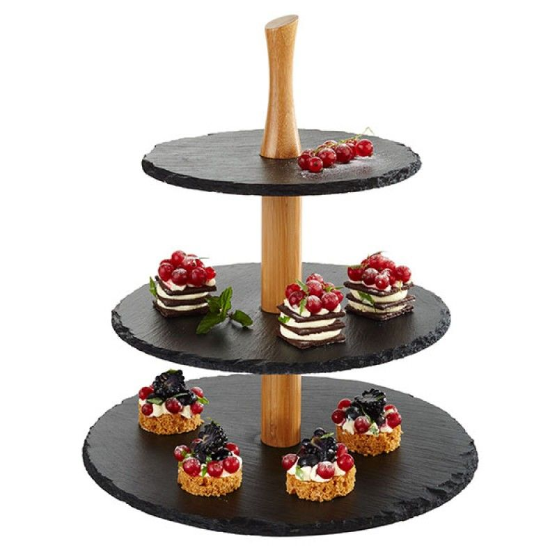 3 TIER NATURAL SLATE TRAY