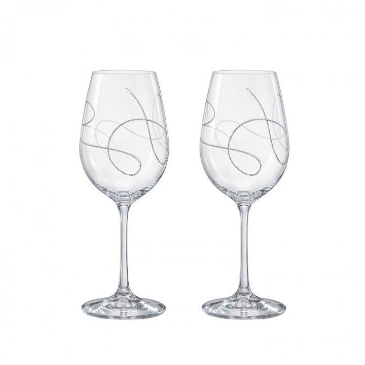 SET OF 2 GLASSES 35CL STRING SILVER 40279