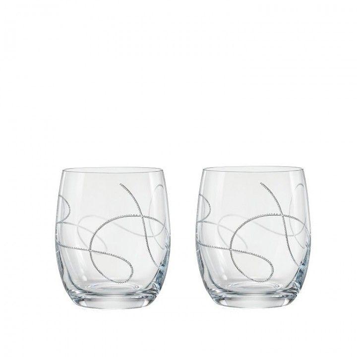 SET 2 GLASSES 30CL STRING SILVER 25180