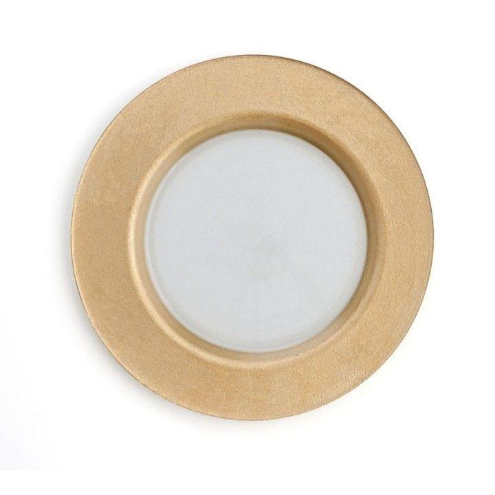 Prato C/Aba Dourado Textura 32cm