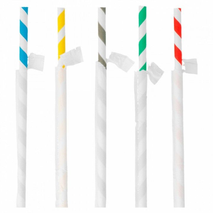 PACK 250 PAPER STRAWS W/WRAPPING 20CM ASSORTMENT OF COLOURS